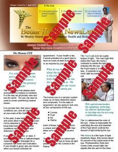 Better Health Newsletter-1  The Human Eye   April 2015 copy